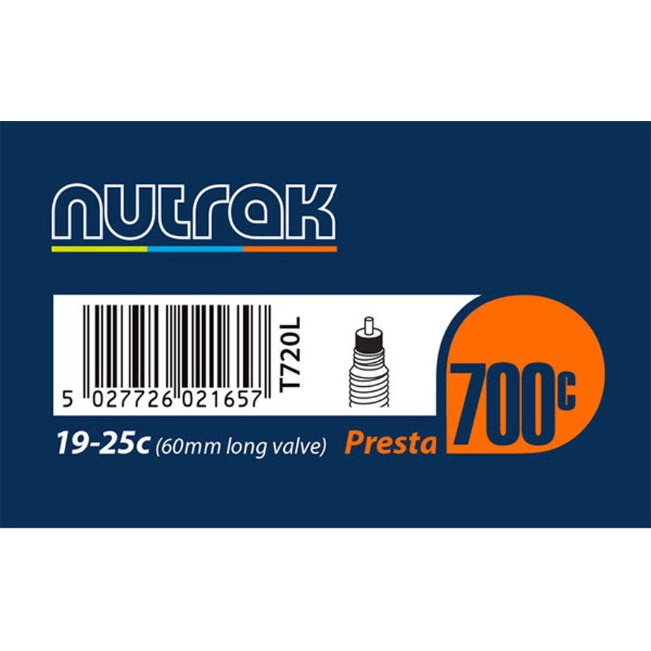Nutrak 700 x 19 - 25C Presta 60 mm long valve inner tube