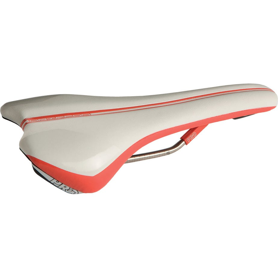 PRO Griffon saddle hollow Ti rails, 132 mm wide, regular fit, white / red