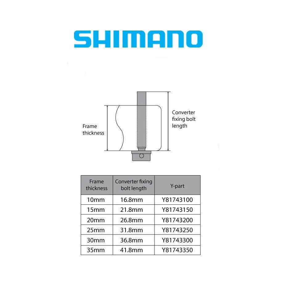 Shimano Spares Flat mount calliper to flat mount frame fixing bolt C, for 10mm frame, 23mm bolt