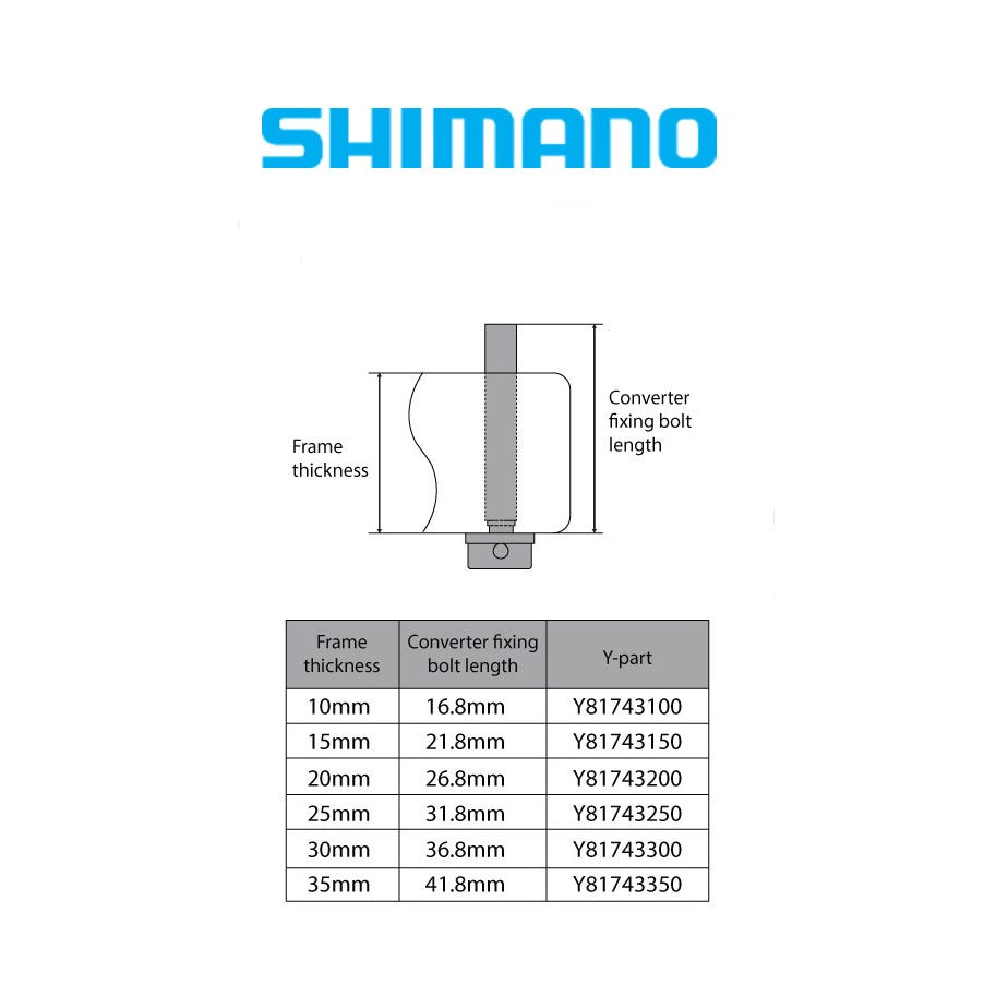 Shimano Spares Flat mount calliper to flat mount frame fixing bolt C, for 10mm frame, 23mm bolt