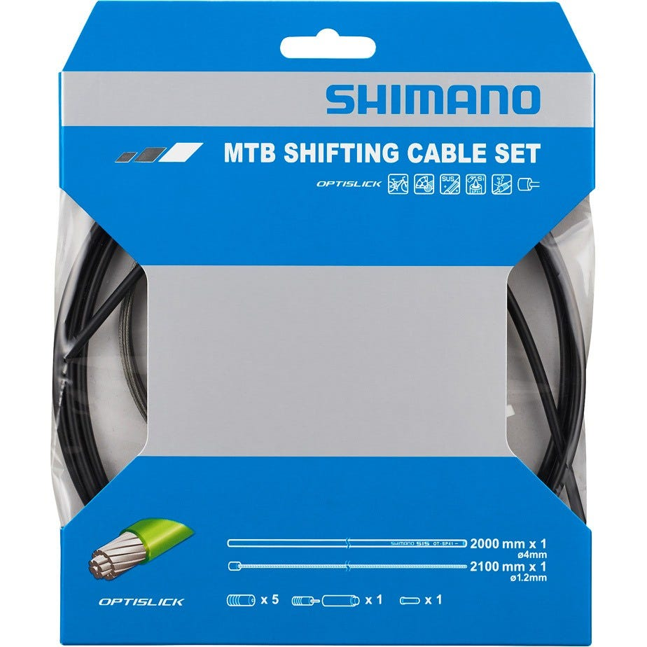 Shimano Spares MTB gear cable set for rear only, OPTISLICK coated stainless steel inner, black