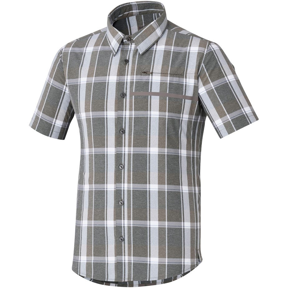 Shimano Clothing Men's Transit Short Sleeve Check Button Up Shirt
