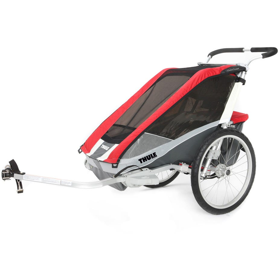 Thule Chariot Cougar 2 child carrier U.K. certified - red / silver / grey Inc. Cycle Kit EX DI