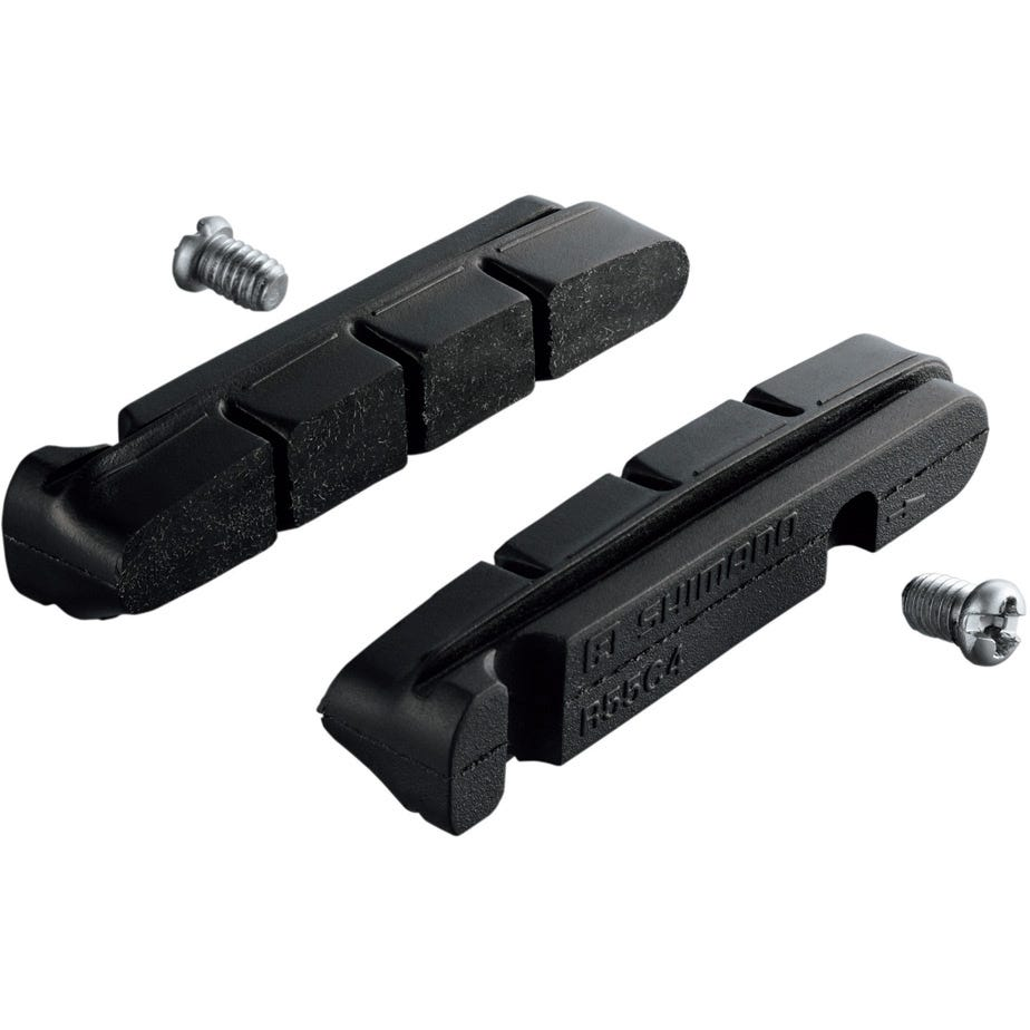 Shimano Spares R55C4 brake shoe inserts and fixing bolts, for carbon rim, pair