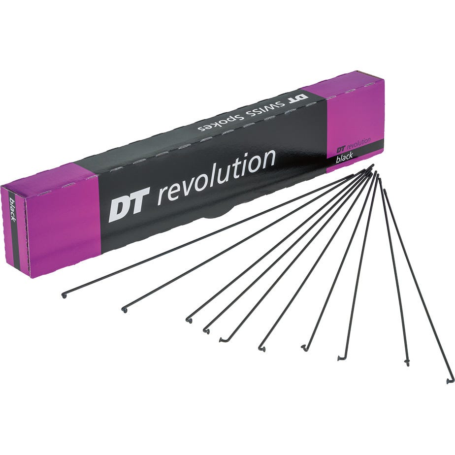 DT Swiss Revolution black spokes 14 / 17 g = 2 / 1.5 mm box 72