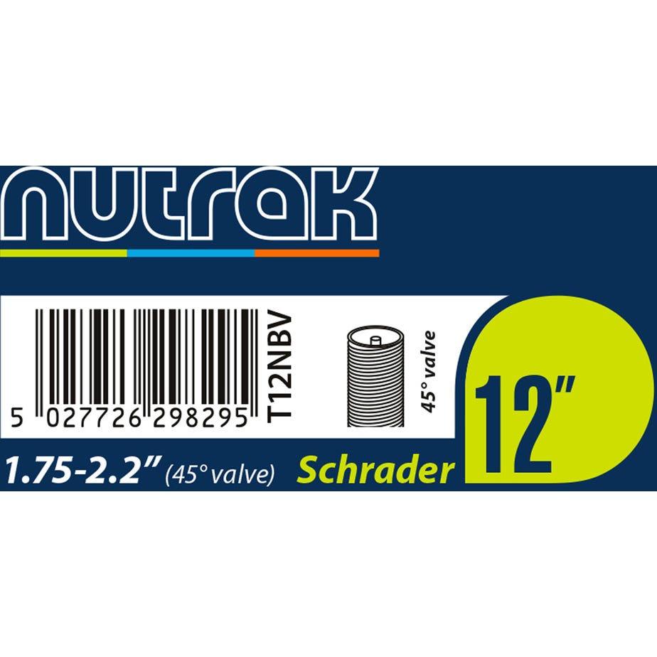 Nutrak 12 x 1.75 - 2.125 inch Schrader inner tube with 45 degree bent valve