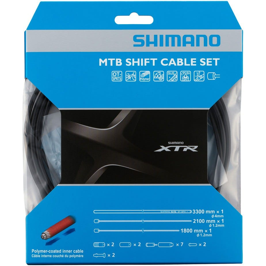 Shimano Spares MTB XTR gear cable set with Polymer coated inner wire, black