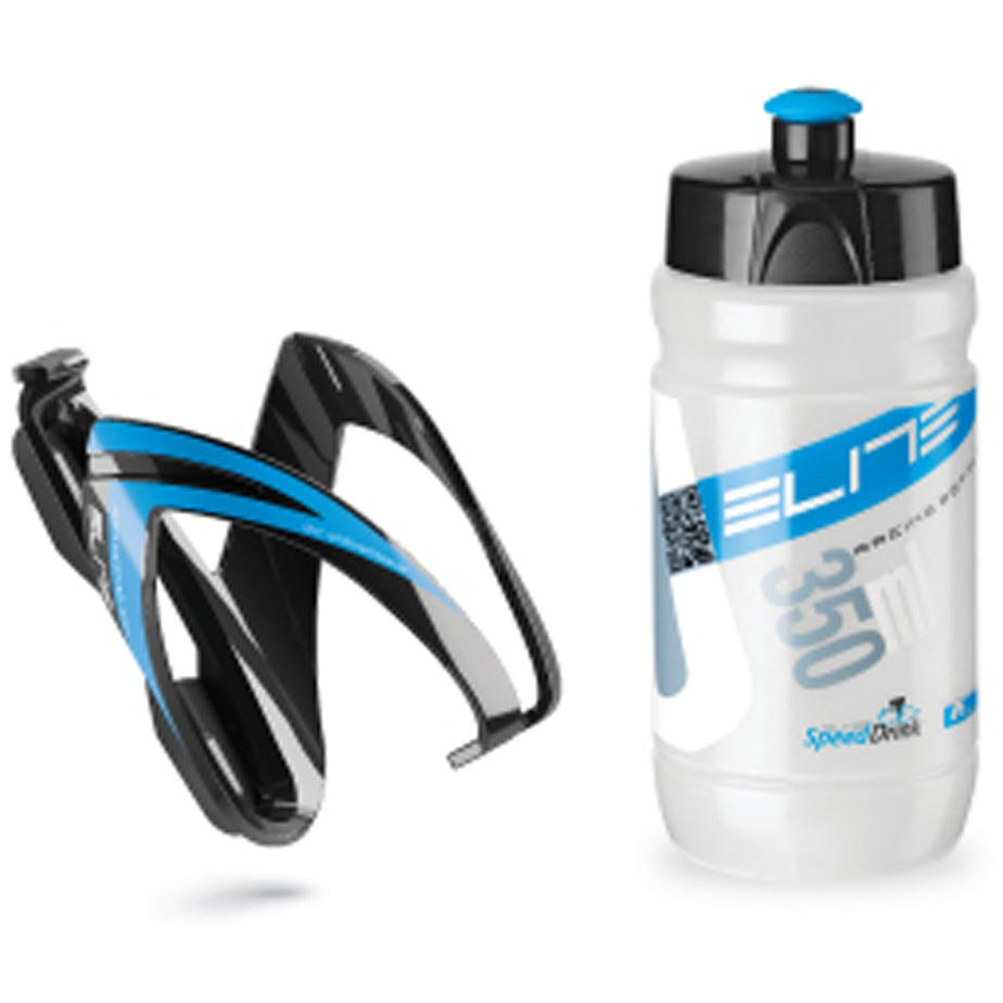 Elite Ceo youth bottle kit includes cage and 66 mm, 350 ml bottle blue