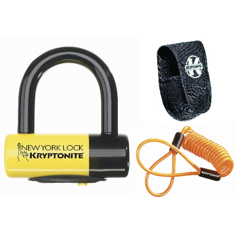 Kryptonite New York Liberty Disc Lock - With Reminder Cable - Yellow Sold Secure Gold