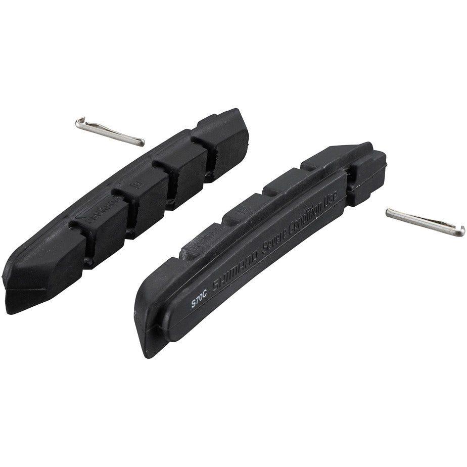 Shimano Spares S70C cartridge brake shoe inserts with fixing pin, pair