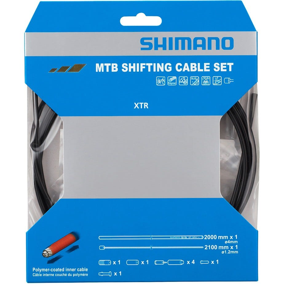 Shimano Spares MTB gear cable set for rear only, Polymer coated stainless steel inner, black