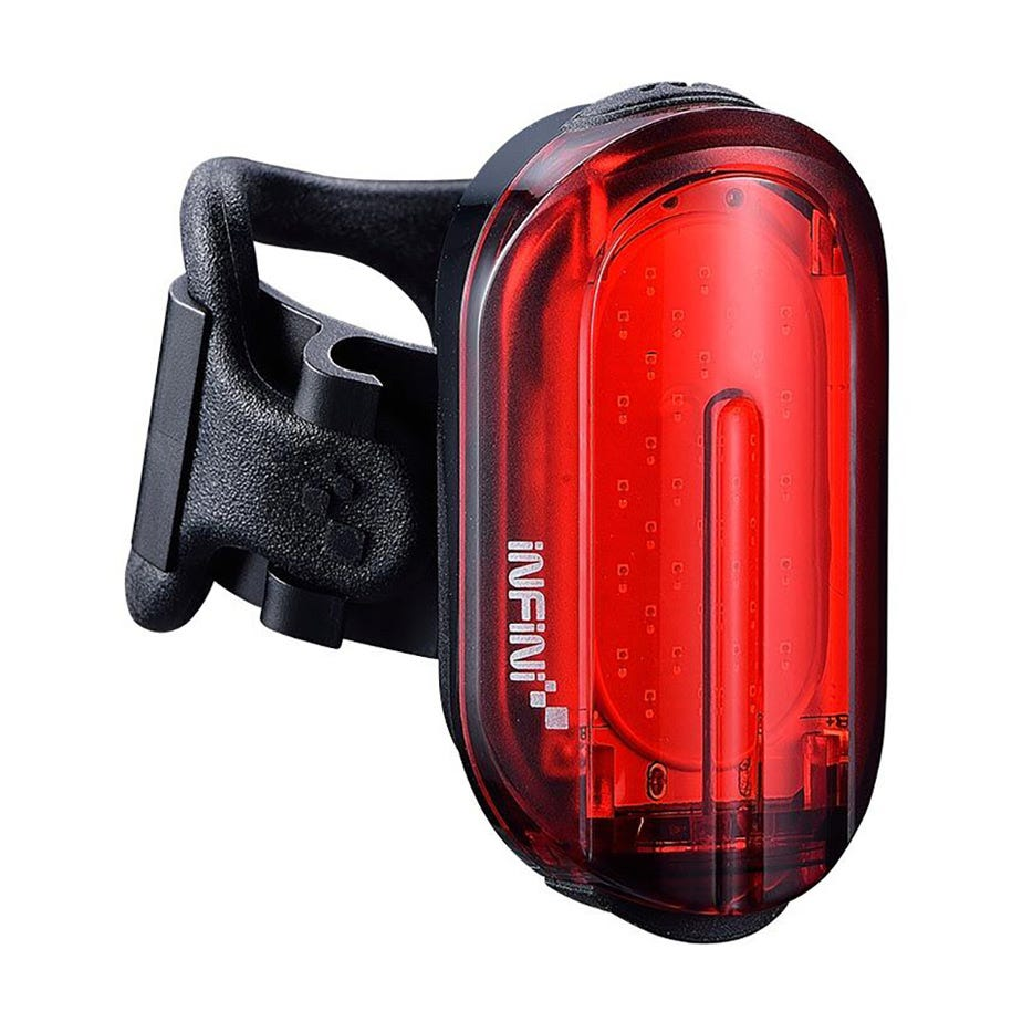Infini Olley super bright micro USB rear light with QR bracket black with red lens
