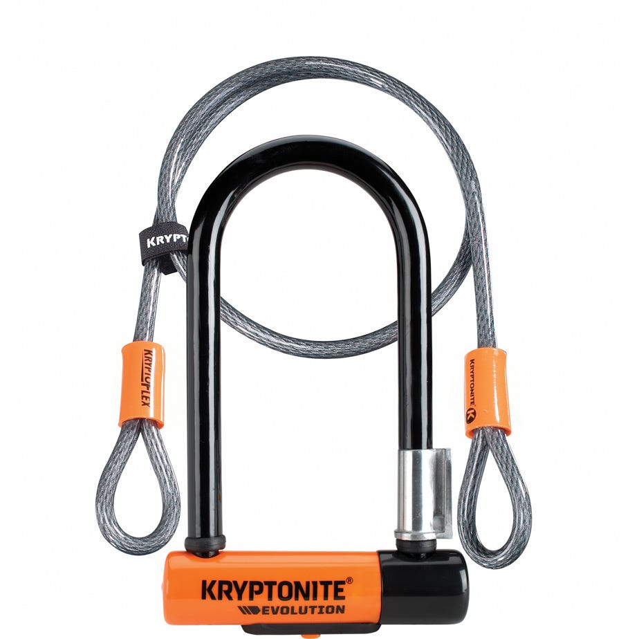Kryptonite Evolution Mini 7 Lock With 4 Foot Cable With Flexframe Bracket Sold Secure Gold