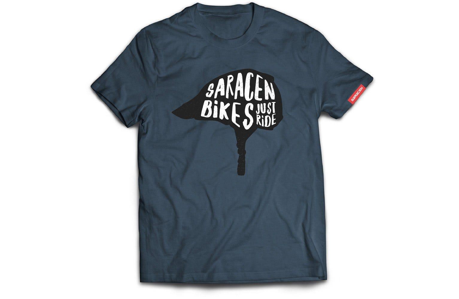 Saracen Mens T-Shirt Helmet Just Ride