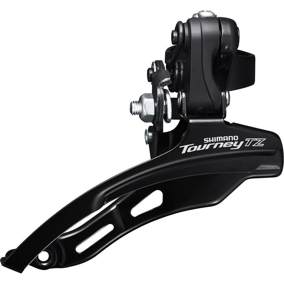 Shimano Tourney / TY FD-TZ500 6-speed MTB front derailleur, down swing, top pull, 28.6mm, 66-69, 42T