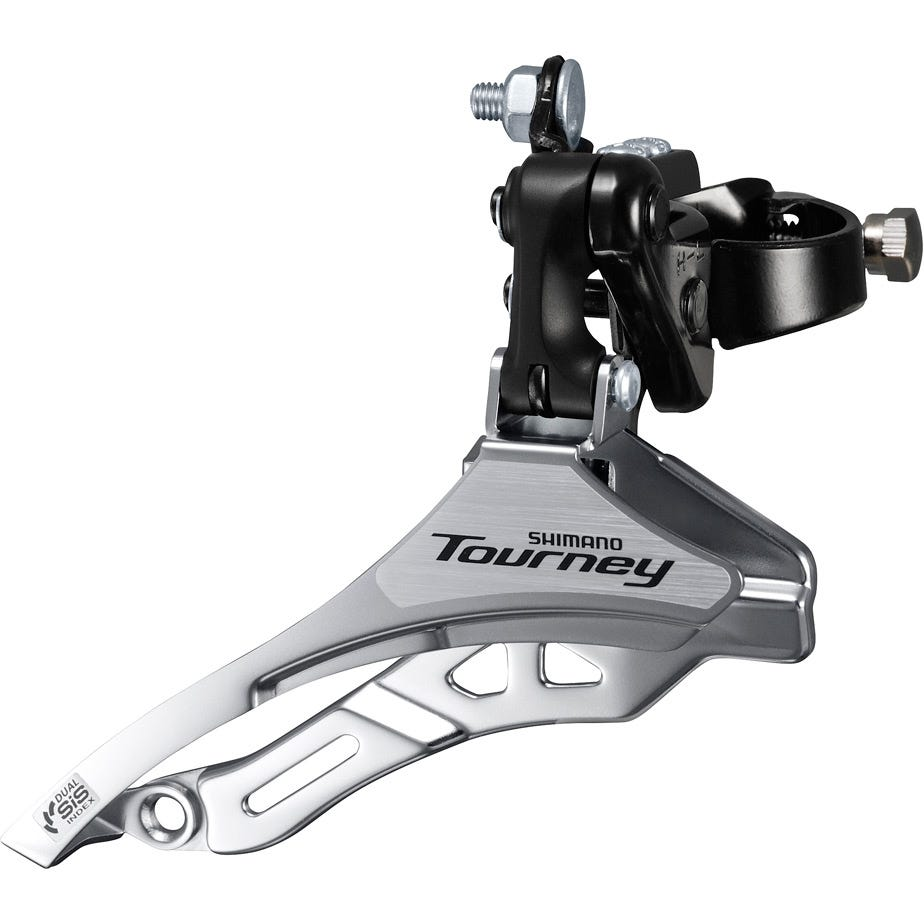 Shimano Tourney / TY FD-TY300 Tourney 6/7 speed triple front derailleur, down pull, 28.6 mm, for 42T