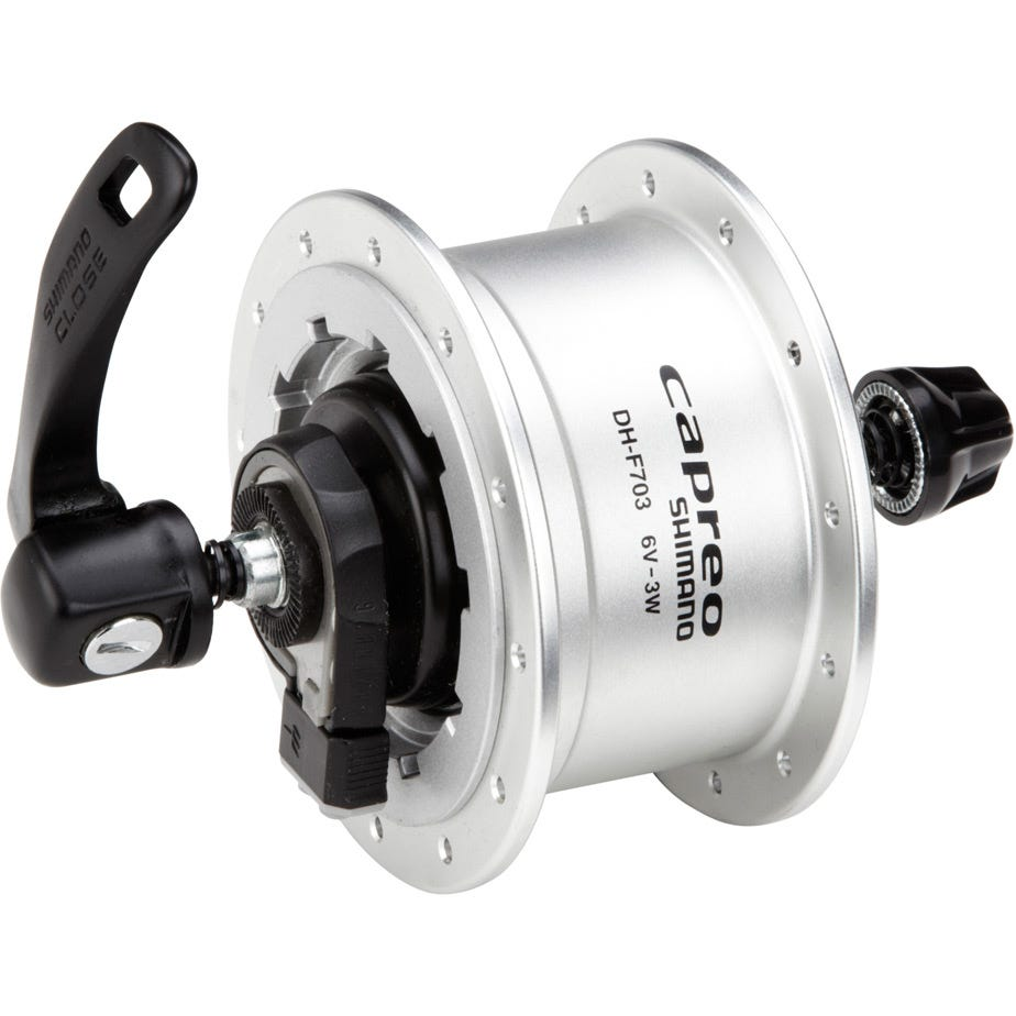Shimano Capreo DH-F703 6v 3.0w quick release dynamo front hub for use with rim brakes - 24h