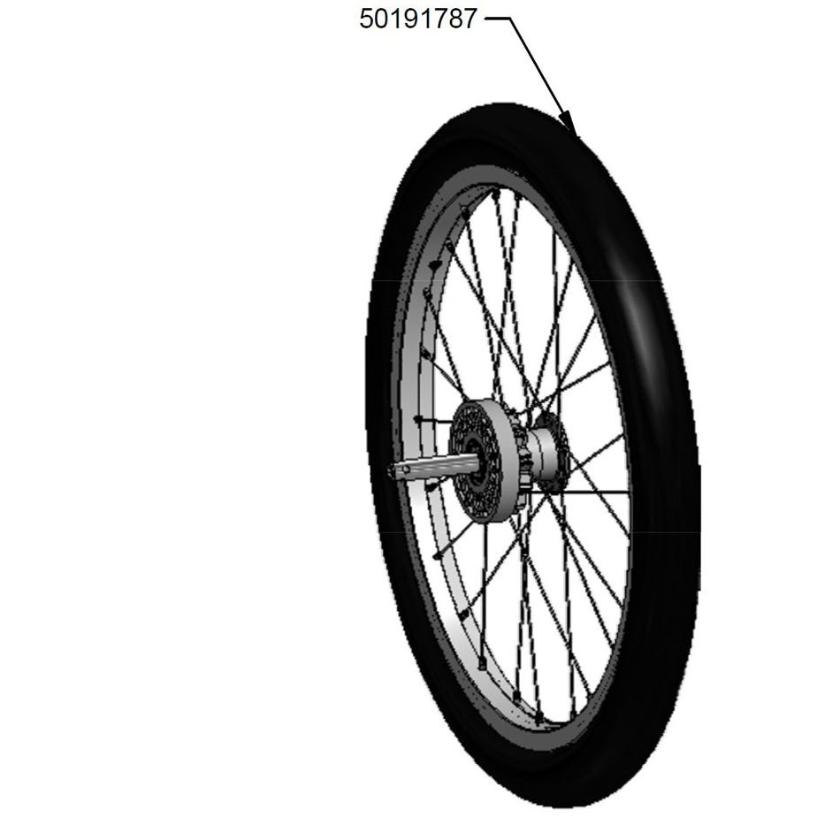 Thule 18 inch wheel assembly with tyre for Chinook 1 or 2