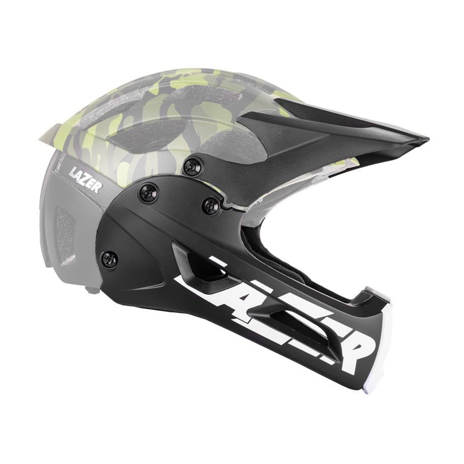 Lazer Revolution Chinguard + Long Visor, Black, Medium