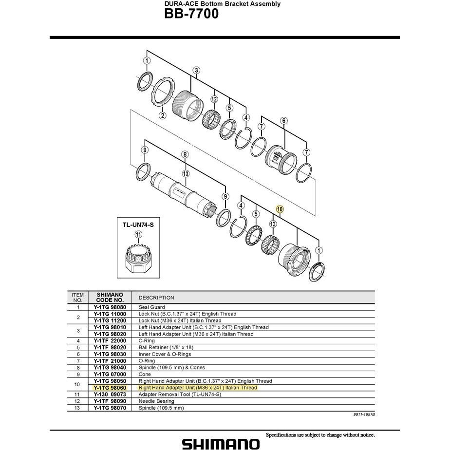 Shimano Spares BB-7700 right hand cup Italian thread 70 mm