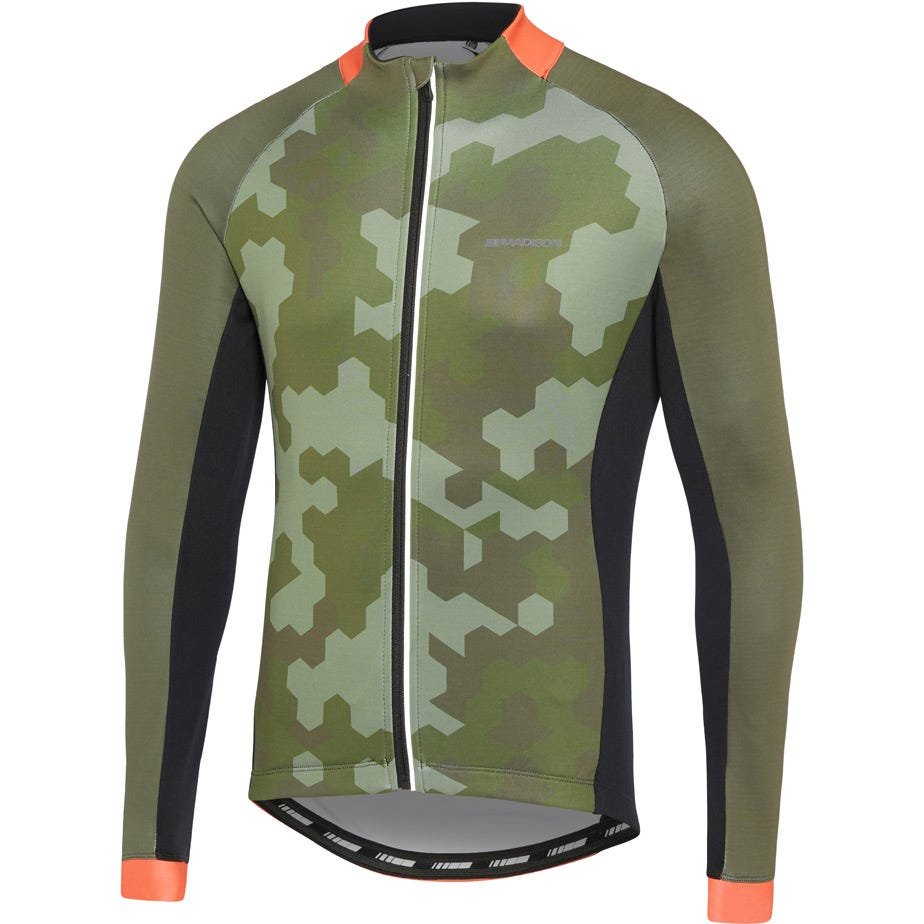 Madison Sportive men's long sleeve thermal jersey, hex camo