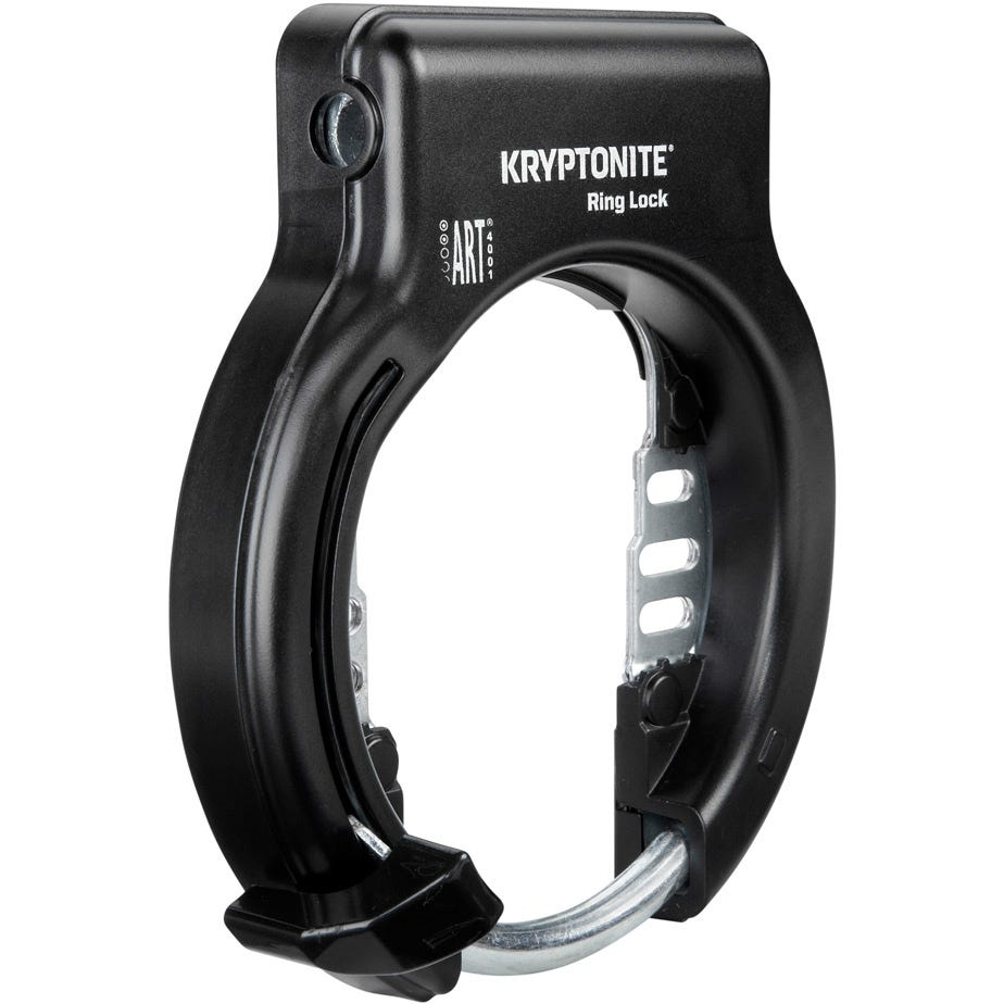 Kryptonite Ring Lock With Plug In Capability - Non Retractable Sold Secure Silver