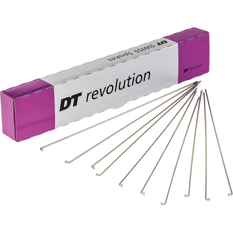 DT Swiss Revolution silver spokes 14 / 17 g = 2 / 1.5 mm box 72