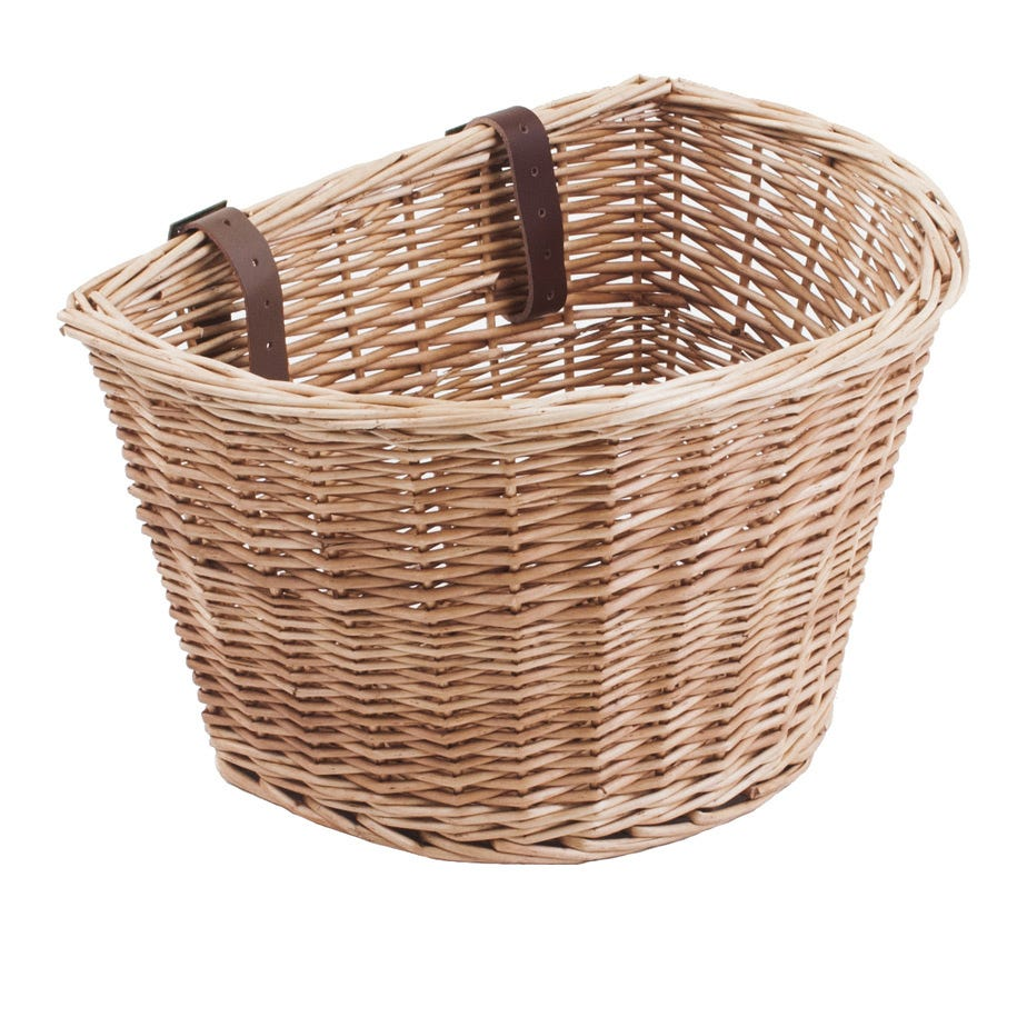 M Part D Shaped wicker basket with leather straps