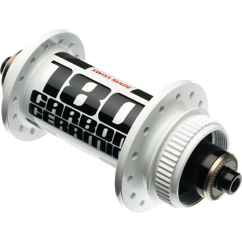 DT Swiss 180 Carbon Ceramic front hub 28 hole 100 mm Centre-Lock disc white