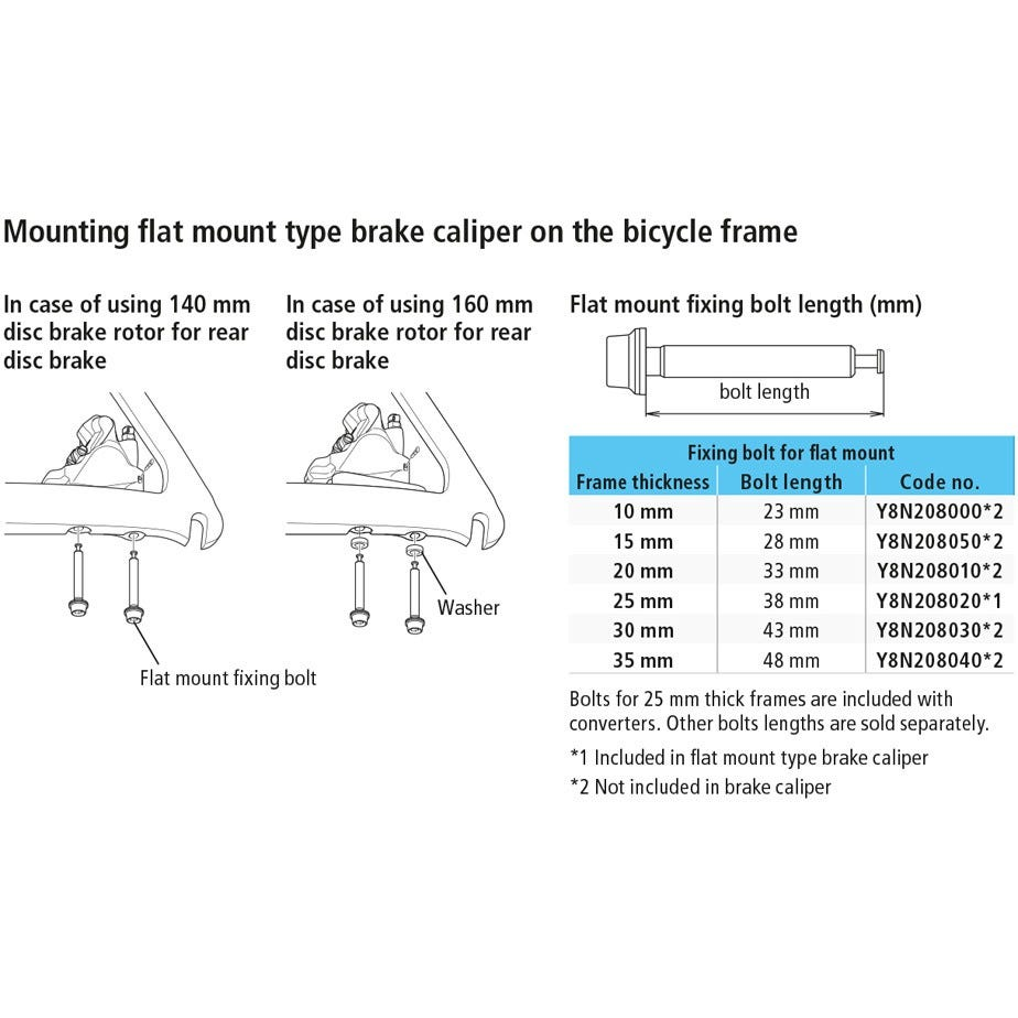 Shimano Spares Flat mount calliper to flat mount frame fixing boltiou lengths