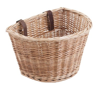 D Shaped wicker basket with leather straps