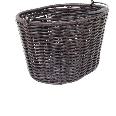 Stockbridge woven plastic basket with handle and QR plate