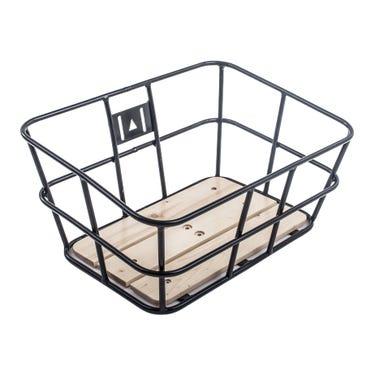 Portland tubular metal basket with wooden base