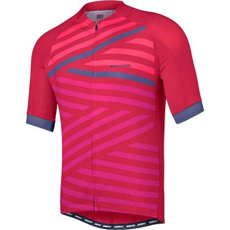 Sportive men's short sleeve jersey, geo stripes
