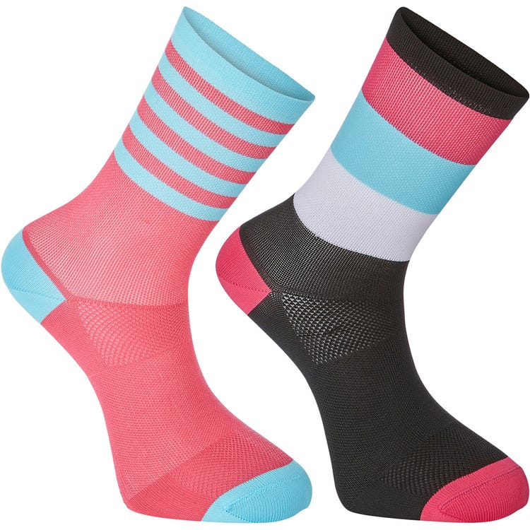 Madison Sportive mid sock twin pack, block stripe