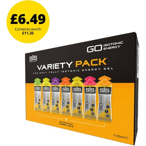 Science In Sport GO Isotonic Gel Variety Pack - Single Box of 7 Gels - Mixed
