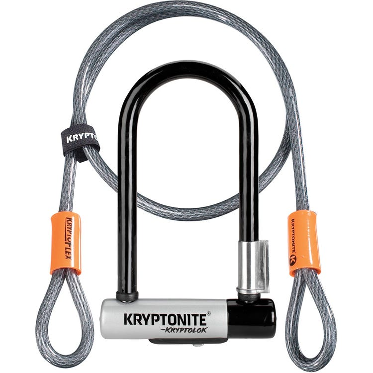 Kryptonite Kryptolok Mini U-Lock With 4 Foot Flex and Flexframe Bracket Sold Secure Gold