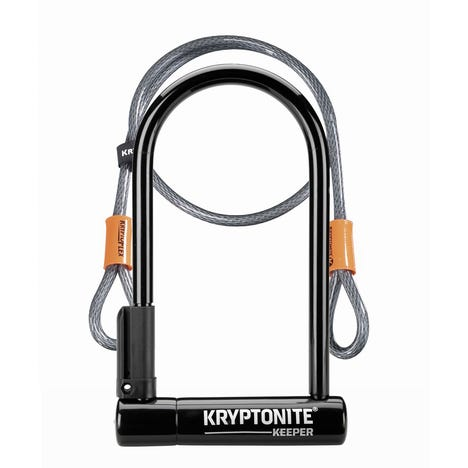 Kryptonite Keeper 12 Standard U-Lock with 4 foot Kryptoflex cable Sold Secure Silver