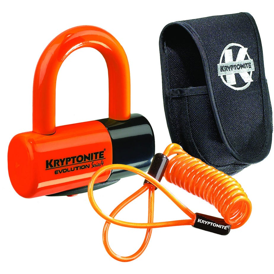 Kryptonite Evolution Disc Lock - Premium Pack - Orange With Pouch And reminder cable