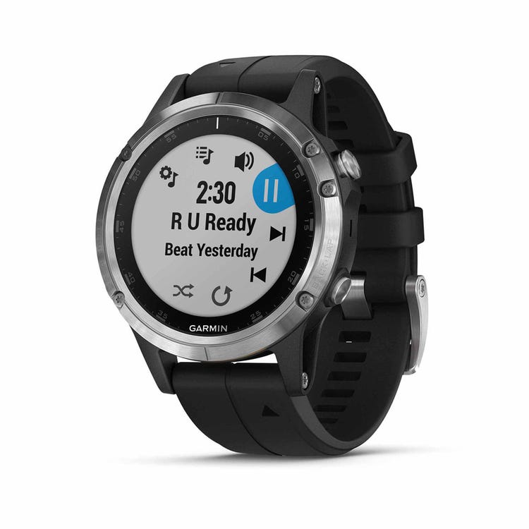 Garmin fenix 5 Plus GPS Watch - Glass - Silver with Black Band