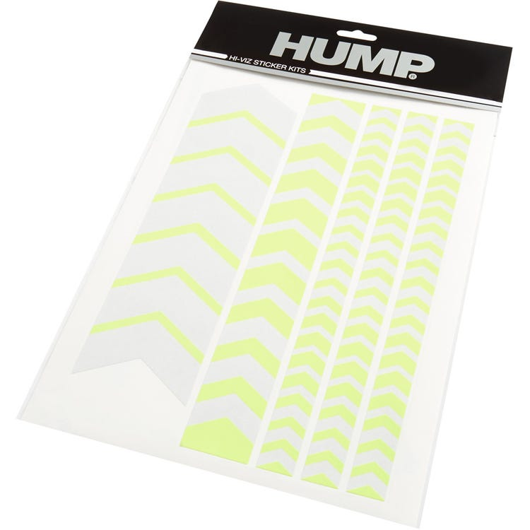 HUMP Hi-Viz reflective sticker sheet, chevron yellow