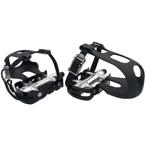 Alloy pedals including toe clips and straps 9/16 inch thread
