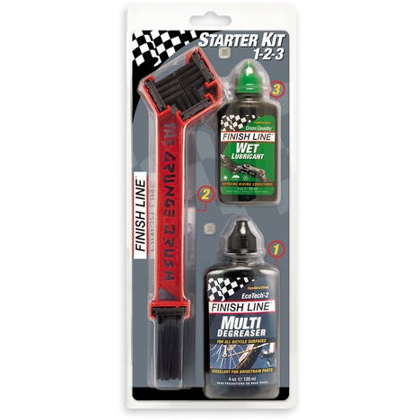 Finish Line Starter Kit Value Pack - Ecotech Degreaser / Dry Chain Lube / Grunge Brush