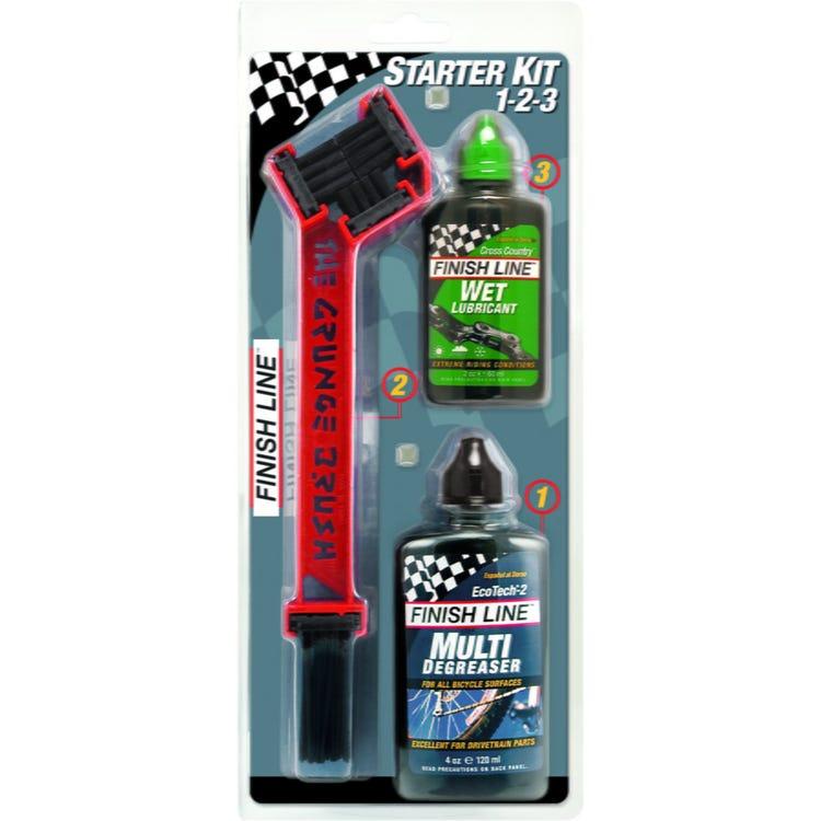 Finish Line Starter Kit Value Pack - Ecotech Degreaser / Dry Chain Lube / Grunge Brush
