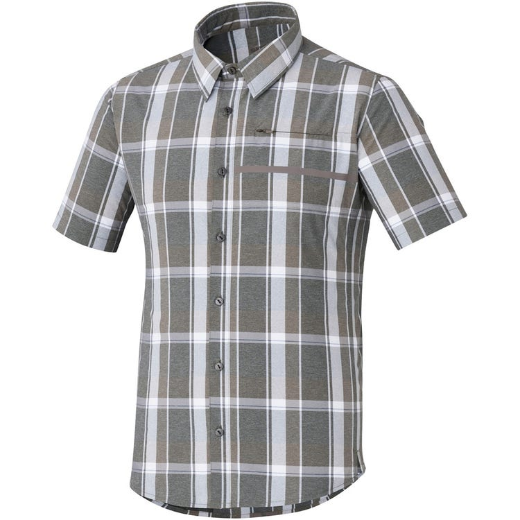 Shimano Clothing Men's Transit Short Sleeve Check Button Up Shirt