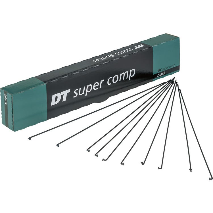 DT Swiss Super Comp black spokes 14 / 16 / 15 g = 2 / 1.7 / 1.8 mm box 72