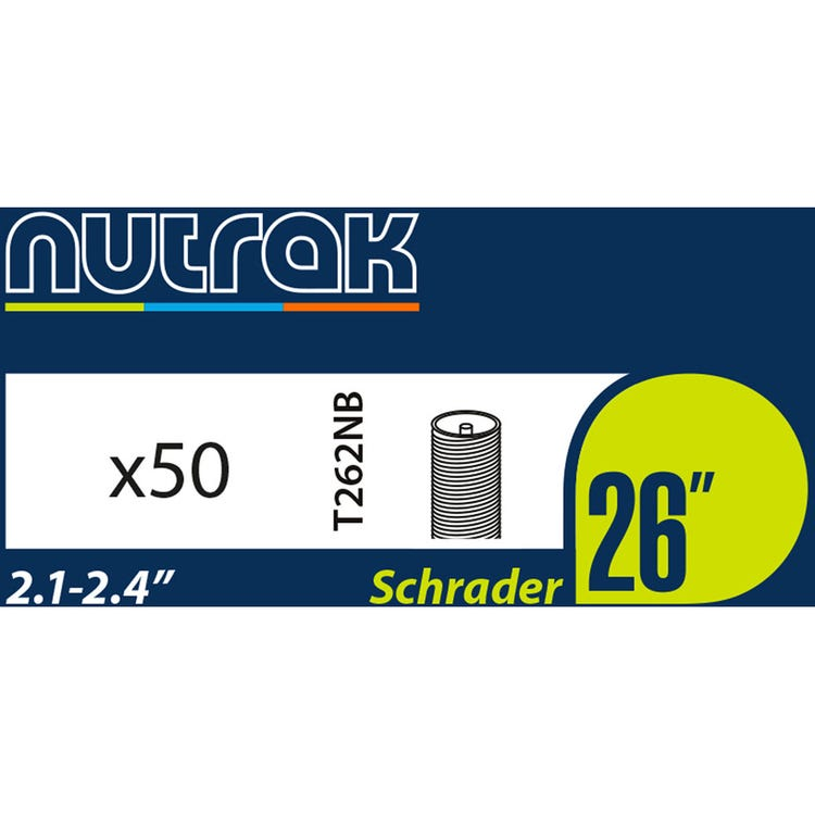 Nutrak 26 x 2.1 - 2.4 inch Schrader inner tube (box of 50)