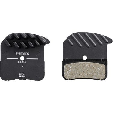 H03A disc brake pads, alloy backed with cooling fins, resin