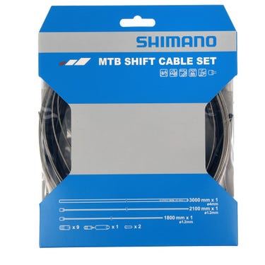 MTB gear cable set with stainless steel inner wire, black