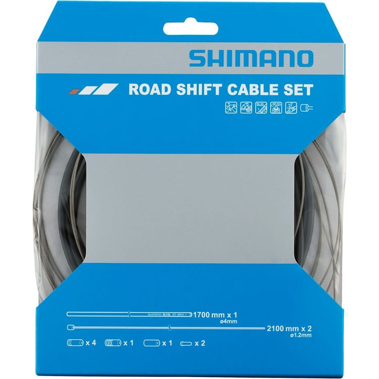 Shimano Spares Road gear cable set with stainless steel inner wire, black